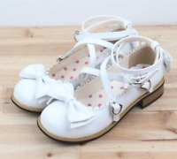 Girls Womens Bowtie Flats Brogue Lolita Buckle Princess Cross Strap Shoes Cutey
