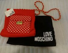 MOSCHINO RED FABRIC ACROSS THE BODY HANDBAG WITH PROTECTIVE BAG