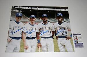 BREWERS Robin Yount R Fingers Cooper Oglivie signed 16x20 photo JSA Autographed