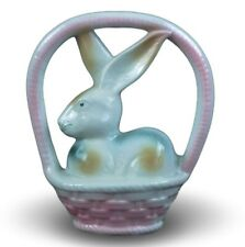 """Festcool Vintage Porcelain Bunny in Basket, Collectible Figurine, 6.5"""", 1980s"""