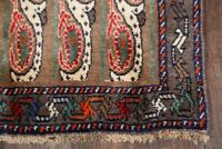 Traditional PAISLEY LIGHT BROWN 9 ft Runner Hand-Knotted Stair Carpet Wool 4'x9'