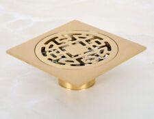 Golden brass Tile Insert Square Floor Waste Grates Bathroom Shower Drain 8hr050
