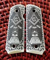 Compact 1911 custom engraved ivory grips Masonic All Seeing Eye Scroll Checkered