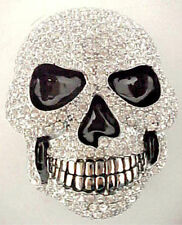 BLING CRYSTAL SKULL BELT BUCKLE DAY OF THE DEAD RHINESTONE FIT SNAP BELT