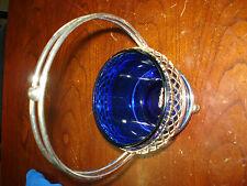 Chrome Basket Handle Removable Cobalt Blue Glass Liner