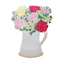 ID 7064 Flower Pitcher Vase Table Decoration Embroidered Iron On Applique Patch