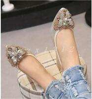 Hot Ladies Womens Rhinestones Pointed Toe Flat Heel Loafers Casual Oxfords Shoes