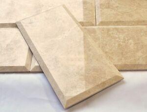 Botticino Beige 6x12 Polished and Beveled Marble Tile Wall Backsplash Kitchen