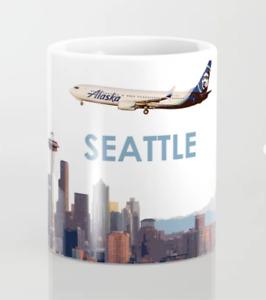 Alaska Airlines Boeing 737 Over Seattle Art - Coffee Mug (11oz)