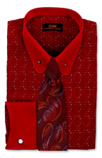 Dress Shirt Only by Steven Land Classic Fit- French Cuff-Burgundy-DW720-BG