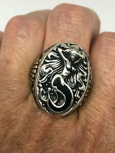 Vintage Mermaid Ring Southwestern Black Inlay Size 6