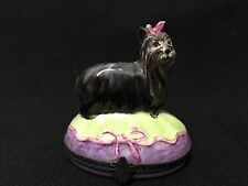 Limoges Tradition d' Art Hand Painted Yorkshire Terrier Yorkie Trinket Box Fs