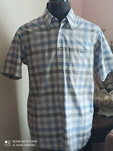 "Lacoste Designer mens blue check short slv shirt size 40/ Medium/ 40"" excellent"