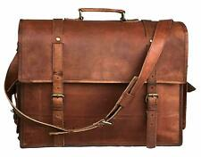 "Genuine laptop briefcase 18"" vintage modern leather messenger Real satchel bag"