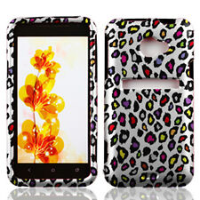 HTC EVO 4G LTE Rubberized HARD Protector Case Phone Cover White Color Leopard