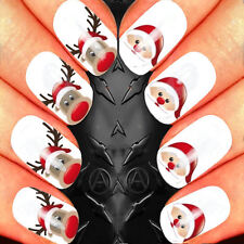NAIL ART WATER STICKERS TRANSFERS DECALS CHRISTMAS REINDEER AND SANTA HEADS PACK