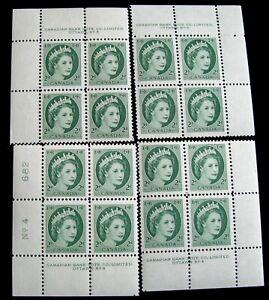 CANADA–Sc #338 – SET OF 4 PB's #4 – 2¢ – GREEN – MINT & NH – 1954 – #537