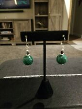 Beaded Earrings Sterling Silver Ear Wires Malachite and Swarovski Crystals Green