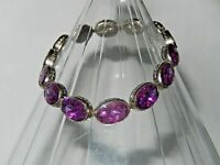 VINTAGE Art Deco CZECH CLOSED BACK PURPLE GLASS BEAD BRACELET PRISTINE CONDITION