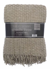 Country Club Luxury Woven Chenille Throw Blanket Natural Beige Taupe Sofa Bed