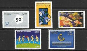 ANDORRA (Fr) - 5 x MNH Singles - 1999/2000 Issues.