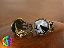 Black Raven Crow Gothic Womens Adjustable Ring Rings Handmade Jewelry Art Gift