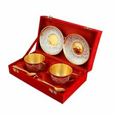 Gold Silver Plated Cup Plate Tea Set with Spoon Best for Birthday Anniversary