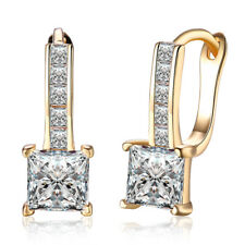 1.50 CT  Square Leverback Earring with Swarovski Crystal 14K Yellow Gold ITALY
