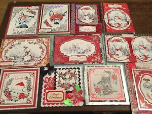 Kanban Christmas monochrome Cardmaking kit, 3 die cut toppers, 6 card ref2,