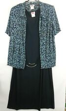 EUC R&K Evening Navy Blue Sheer Short Sleeve 2 pc Dress Size 22W Pre-Owned