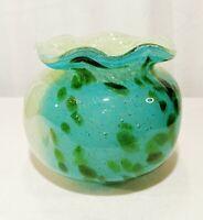 Hand Blown Art Glass Sack Vase Fused Elements Bubbles Heavy Blue Green