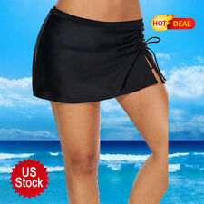 Sexy Women's Swim Skirt Ruffle Side Slit Pull Tie Quick-Drying Short Beach Skirt