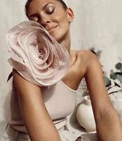 Zara Pink Assymetric Knit Blouse Sz M L Organza Flower Top Pink SS20 NWT