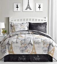 Macy's 8 Piece Comforter Bedding Set New Paris White Black Gold w/ Sheets