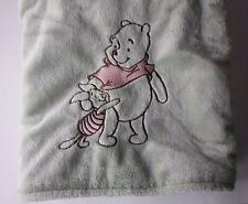 DISNEY BABY POOH & PIGLET GREEN VELOUR CHAMOIS BLANKET EMBROIDERED