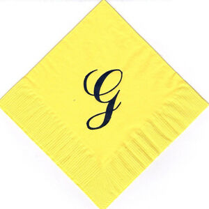 Extra Large Single Monogram G 50 Personalized printed cocktail beverage napkins
