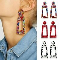 Womens Boho Geometric Dangle Drop Hook Acrylic Resin Ear Stud Earrings Jewellery