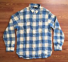 $225 RRL Double RL Mens Blue Off White Linen Check Gingham Plaid Shirt Size M