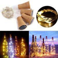 10 20 LED Solar Wine Bottle Cork Shaped String Lights Night Fairy Light A+++ US
