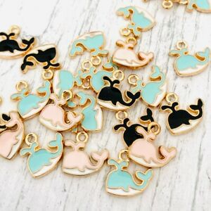 2/5/10 Black Pink Turquoise Enamel & Gold Whale Charms for Bracelets Earrings