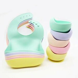 Silicone Baby Weaning Bib Bowl Spoon Set Different colors