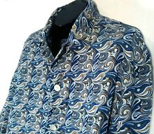 XMI MEN'S LARGE SILK CASUAL LONG SLEEVE SHIRT BLUE WHITE SWIRL FREE SHIPPING (J)
