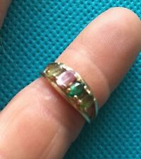 Rainbow Colored 14k Y Gold 3ctw Natural Marquise Cut Multi Gem 4 Stone Ring 3g