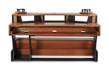 Zaor Miza X2 | Studio Workstation Desk w/ Built-in Speaker Stands | Black Cherry