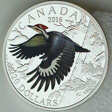 2016 $20 Colorful Birds of Canada: Pileated Woodpecker 1 oz Pure Silver Proof