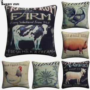 Farmhouse Kitchen Animal Burlap Cushion Cover Sofa Chair  Home Decor Almofada