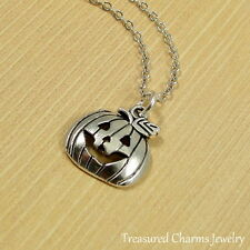 Silver Jack O Lantern Necklace - Halloween Pumpkin Pendant Jewelry NEW
