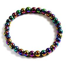 **BEAUTIFUL MAGNETIC RAINBOW HEMATITE ROUND BEAD BRACELET - HEALING / REIKI**