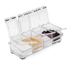 4PCS Acrylic Spice Container Jar Condiment Dispenser Salt Seasoning Box Storage