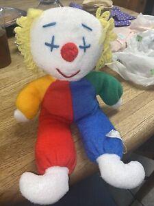 "Vintage Eden 12"" OBO baby clown doll plush stuffed lovey red blue green yellow"